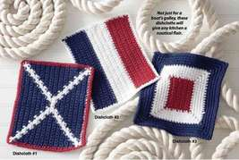 Y868 Crochet PATTERN ONLY 3 Nautical Dishclothes Patterns - $7.50