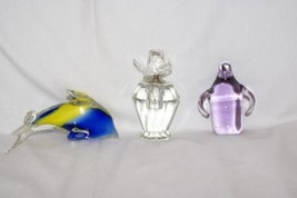 LOT of 2 Paperweights and 1 Crystal Glass Rose Perfume Bottle Dophin Pen... - $19.78