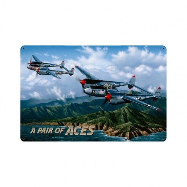 Pair of Aces Airplane Aviation Plane Fighter Jet Military Metal Sign
