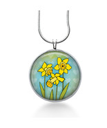 Easter Necklace - Daffodils Jewelry - Handmade - Art Pendant - $18.32