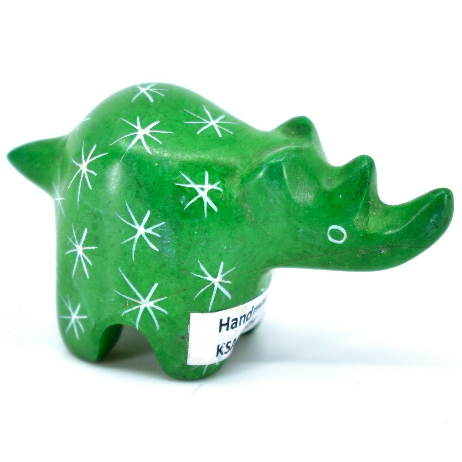 SMOLArt Hand Carved Soapstone Green Rhinoceros Miniature Figurine Made in Kenya