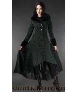 Women's Green Brocade Gothic Victorian Winter Long Corset-Back Steampunk... - $169.03