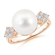 10mm Freshwater Cultured Pearl Cluster Diamond Ring 14K Rose Gold Size 9.5 - $754.64