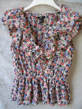 H&M MULTIPLE COLOR POLYESTER FLOWER SLEEVELESS RUFFLE SHIRT SIZE 6 - $13.91