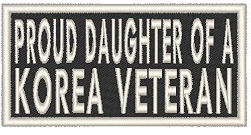 Primary image for PROUD DAUGHTER OF A KOREA VETERAN Iron-on Patch Biker Emblem White Merrow Border