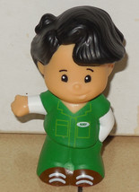 Fisher Price Current Little People Koby Figure FPLP Boy Black Hair Green outfit - $5.90