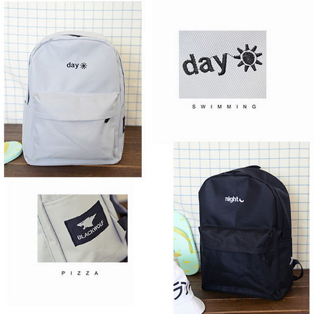 Primary image for Solid color night and day embroidery shoulder bag schoolbag backpack bag couple