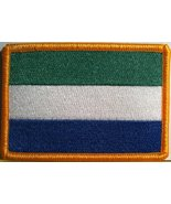 Sierra Leone Flag Embroidery Iron-on Patch Emblem Gold Border - $4.09