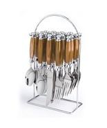 Brown Flatware Set Silverware Caddy Cutlery Rack Stainless Steel 20 pc S... - $48.39