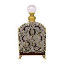 """Clear Bejeweled Pewter Perfume Bottle by Welforth 4.5"""" - $34.65"""