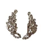 Vintage Silver Toned Rhinestone Bling Sparkle Clip On Earrings RL-156 - $24.74