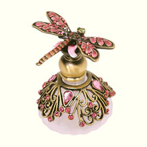 """Red Dragonfly Bejeweled Pewter Perfume Bottle by Welforth 2.5"""" - $34.65"""