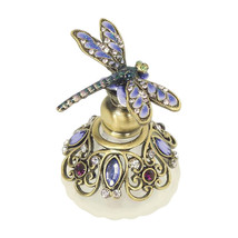 """Blue Dragonfly Bejeweled Pewter Perfume Bottle by Welforth 2.5"""" - $34.65"""