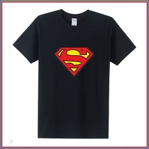 Super Hero's Supermen's Black Cotton Short Sleeve O Neck Unisex Basic Tee Shirt