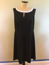 AGB Cocktail Dress 14W Black Fit And Flare Beaded Neckline Keyhole Light... - $79.99