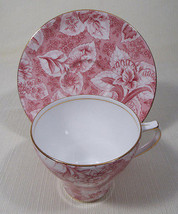 Royal Stafford Tapestry Pink Flat Cup and Saucer Set Floral Pattern Gold... - $49.99