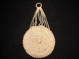 Vintage Crocheted Round Small purse white cord