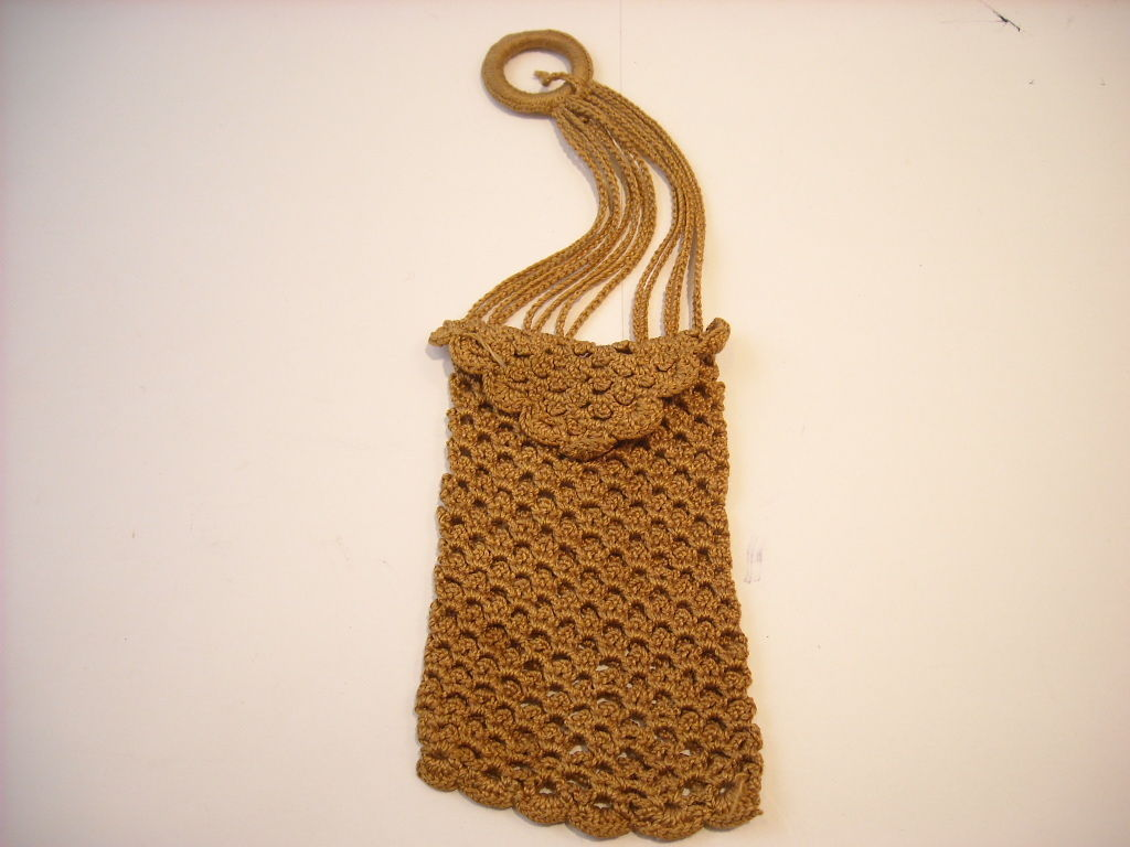 Vintage Crocheted Tiny Purse sandy brown handmade
