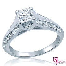 "0.92ct G/VS1 French ""V"" Set Princess Surprise Diamond Engagement Ring 14... - €1.985,30 EUR"