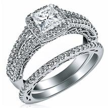 1.24 Ct F/VS2 Natural Princess Diamond Engagement Ring Wedding Band Set ... - £2,229.47 GBP