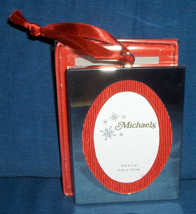 MICHAELS Silver and Red Velvet Oval Picture Frame Christmas Tree Ornament - $14.95