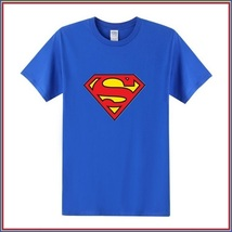 Super Hero's Supermen's Blue Cotton Short Sleeve O Neck Unisex Basic Tee Shirt