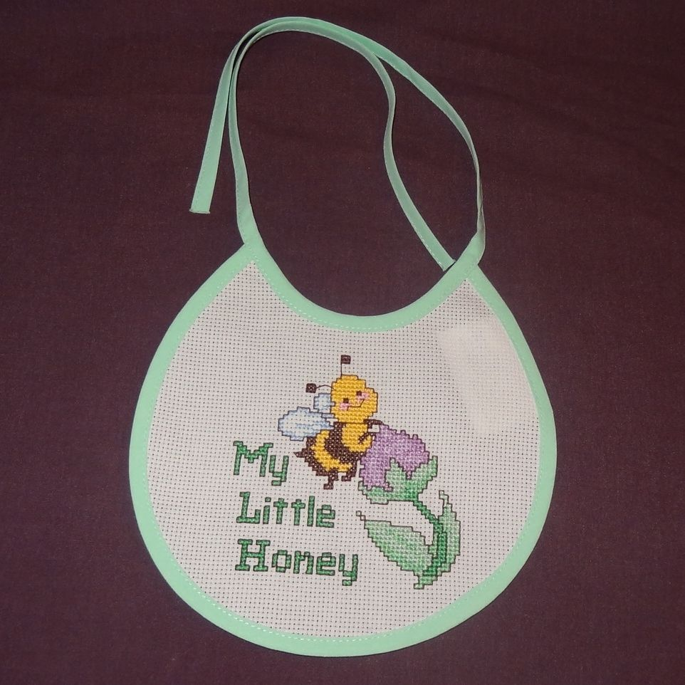 New My Little Honey Bee Bib Baby girl boy unisex Handmade Finished Cross Stitch