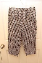 Talbots Petites Size 6 Capris  Brown Beige Floral Cropped Stretch Pants Side Zip - $19.26