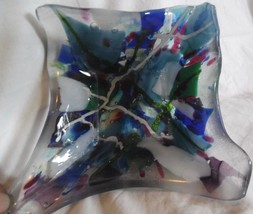 "Hand Molded Art Glass Dish heavy colorful asymmetrical outer edge 5.25"" ... - $20.00"