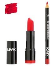 NYX Round Lipstick Eros 536 and Slim Lip Liner 817 set Hot Red - $10.24