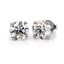 2.5CT Round Brilliant Cut Diamond Earrings Studs Screwback 14K White Gold - $54.52