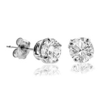 2.50Ct Solid 14K White Gold Basket Round Brilliant Cut Diamond Earrings ... - $39.28
