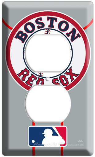 BOSTON RED SOX MLB LOGO MAJOR LEAGUE BASEBALL ELECTRIC POWER OUTLET WALL COVER