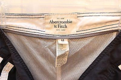 Abercrombie & Fitch Men's Swim Trunks Prep Fit Side Stripes Size M Navy Blue