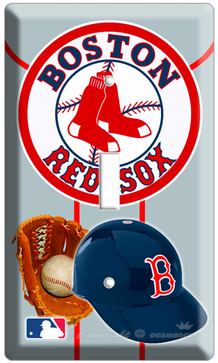 BOSTON RED SOX MLB MAJOR LEAGUE BASEBALL HALMET SINGLE LIGHT SWITCH WALL PLATE N