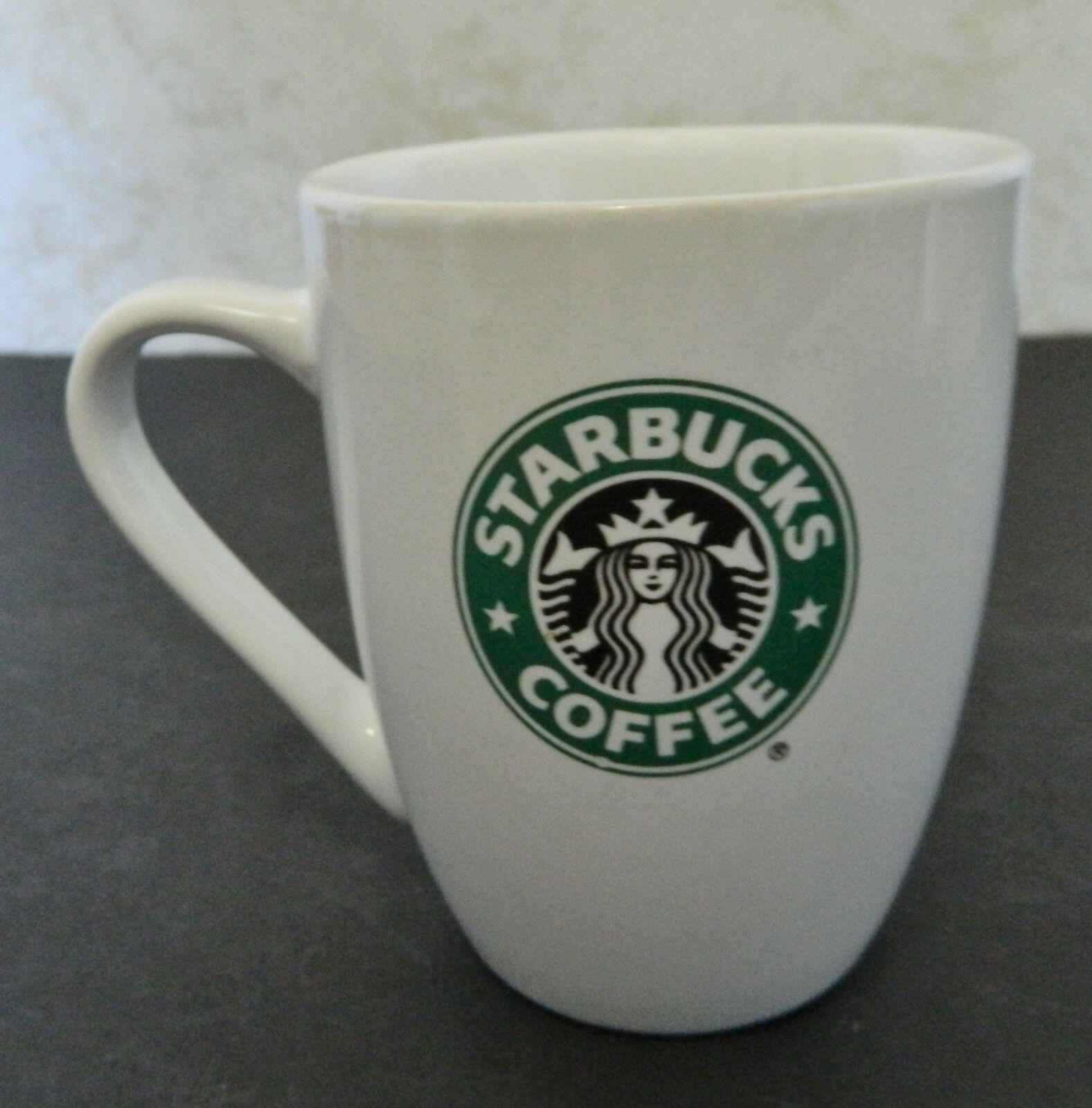 Starbucks Cobalt Blue Glass Cup Mug Coffee Tea Mermaid Siren Logo EUC White