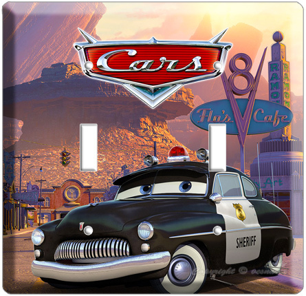 DISNEY CARS 2 SHERIFF POLICE CAR DOUBLE LIGHTSWITCH WALL PLATE COVER BOY'S ROOM
