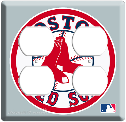 NEW BOSTON RED SOX MLB LOGO MAJOR LEAGUE BASEBALL 4 POWER OUTLET COVER WALLPLATE