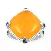 Aura Silver Ring with Yellow Jade and Brown Cubic Zirconia (SR00175Y-JA/... - £34.08 GBP