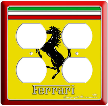 NEW FERRARI EMBLEM CAR LOGO SYMBOL ELECTRIC POWER OUTLET COVER WALL PLATE poste
