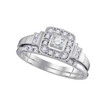10k White Gold Round Diamond Womens Square Bridal Wedding Engagement Ring Set - $711.91