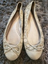 COACH Women's Kathy Leather Logo Ballet Flats Perforated C Sand Beige Size 11B - $42.06