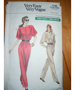 Very Very Easy Vogue Misses Size 8-12 Jumpsuit  #7136 - $5.99