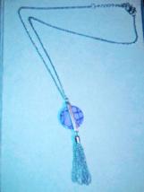 Simple design purple stone pendant with tassel - $12.95