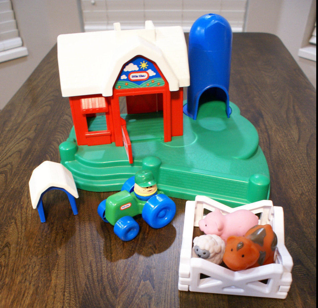 Vintage Little Tikes Farm Tractor Animals Fence Silo Barn Dog House