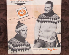 Vintage Mary Maxim Knitting Patterns MENS Cardigan or Pullover Sweater and Toque - $6.95