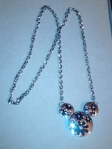 Silvertone Mickey Mouse head necklace with flowers and rhinestones - $10.00