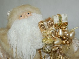 Sterling Brand Large Luxurious Ivory Santa Figurine Holding Gold Color Staff image 2