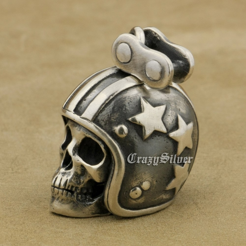 LINSION 925 Sterling Silver Motorcycle Helmet Skull Mens Punk Pendant Necklace image 5