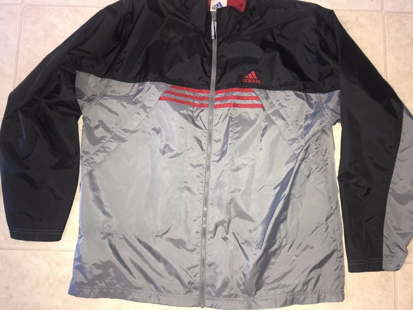 Primary image for Adidas ~ Men's Black Gray Red 3-Striped Track Jacket Light Weight Mesh Lined ~ L